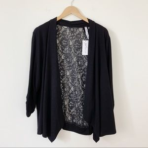NY Collection Open Front Cardigan Lace Back Black